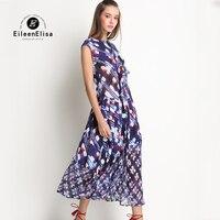 Runway Summer Dress Women Long Silk Dresses Women 2017 Dark Blue Long Dress