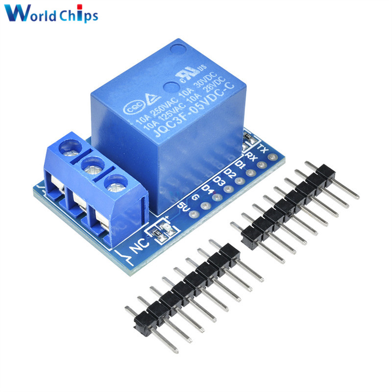 1Set Wemos D1 Mini Relay Shield One Channel Wemos D1 Mini Relay Module For Arduino ESP8266 Development Board Free Shipping