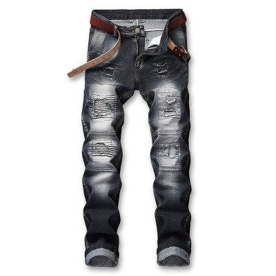 Flèche voiture homme déchiré Jeans nostalgique classique Jeans hommes gris clair fracassé Patch hommes Jeans pantalon