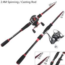 2.4m Carbon Fiber Lure Fishing Rod Travel Ultra Light Spinning / Casting Fishing Pole  7 Sections hot sale 2 1m magicr knight spinning rod casting rod 2 sections super light carbon fiber saltwater fishing rod