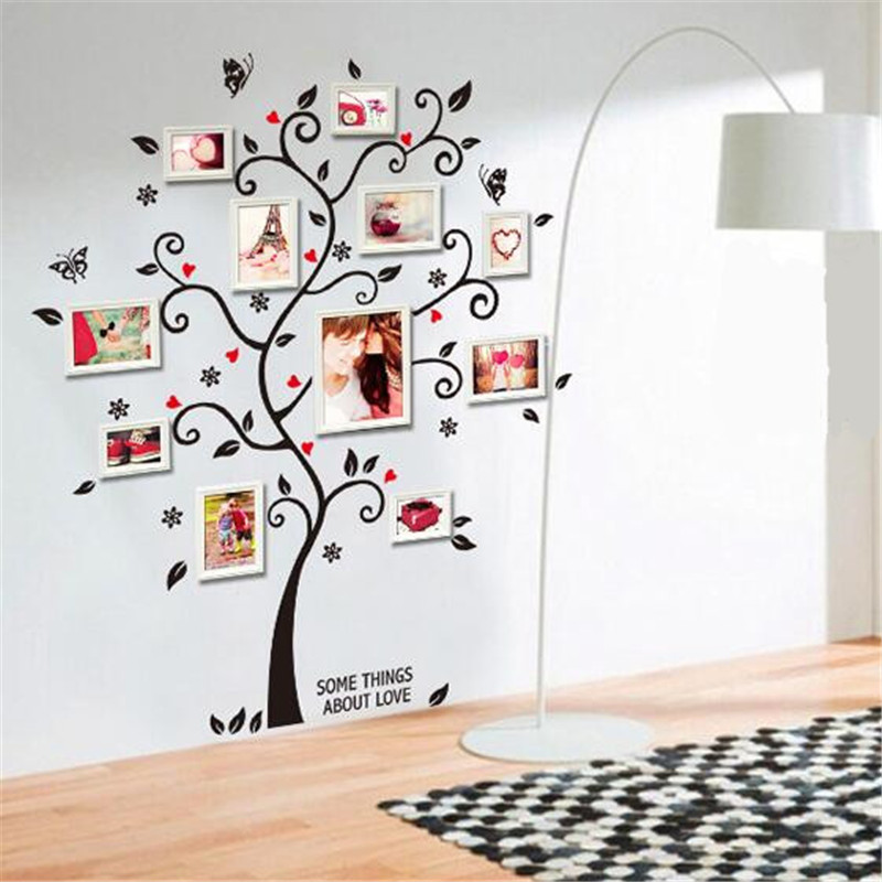 Brand design black tree photo frame diy 3d vinyl wall stickers removable wall sticker design living room home decoration cc2531 in wall stickers from home