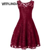 VESTLINDA Plus Size Sheer Lace Vintage Party Short Prom Dress 2017 Fall Women Sleeveless A Line