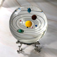 80mm Colorful Crystal Solar System Ball Miniature Planets Model Glass Globe Home Decoration Sphere Ornament Gift Souvenir
