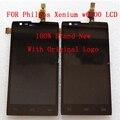 100% original para philips xenium w6500 asamblea lcd + pantalla táctil del digitizador del panel frontal