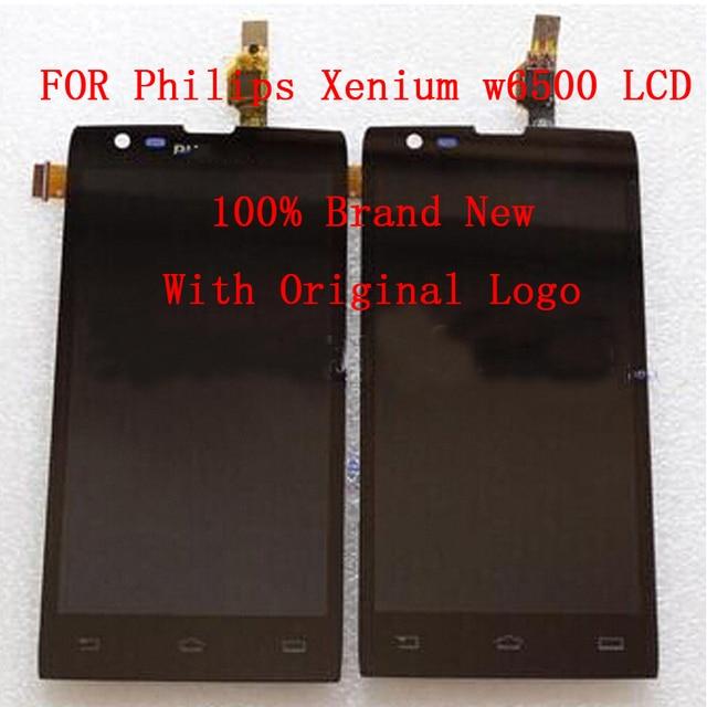 100% original para philips xenium w6500 display lcd + digitador da tela de toque de montagem do painel frontal