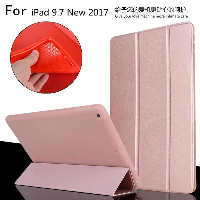 New 2017 For iPad 9.7 A1822 A1823 High Quality Ultra Slim Smart Sleep TPU Leather Case Cover For iPad 5 / Air + Film + Stylus nice soft silicone back magnetic smart pu leather case for apple 2017 ipad air 1 cover new slim thin flip tpu protective case
