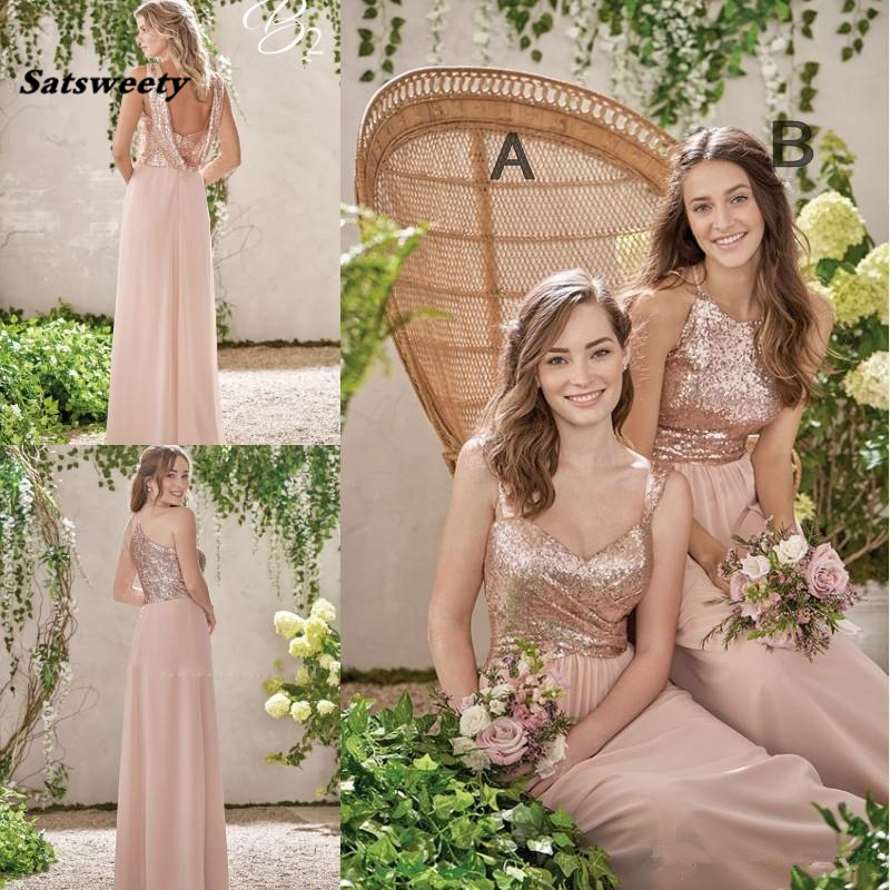 Rose Gold Bridesmaid Dresses A Line Spaghetti Backless Sequins Chiffon Cheap Long Beach Wedding Gust Dress Maid Of Honor Gowns
