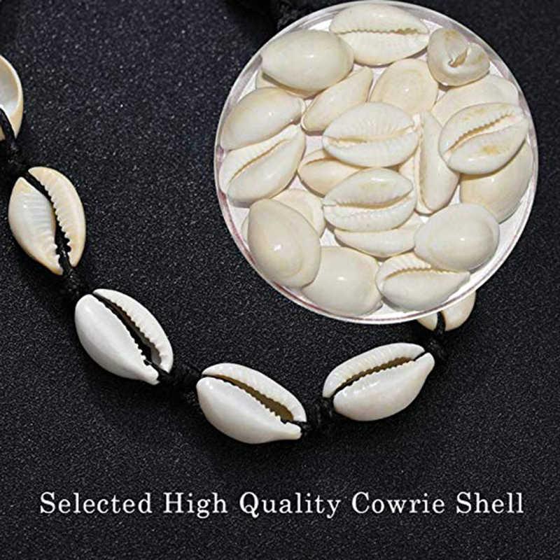 Bulan Yang Alami Cowrie Shell Kalung Kalung untuk Wanita VSCO Puka Shell Kalung Adjustable Pantai Hawaii Kerang Kalung