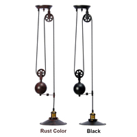 Single Vintage Loft Retro Pendant Light Sconce Hanging Pulley Lamp Fixtures Restaurant Bar Home Decoration