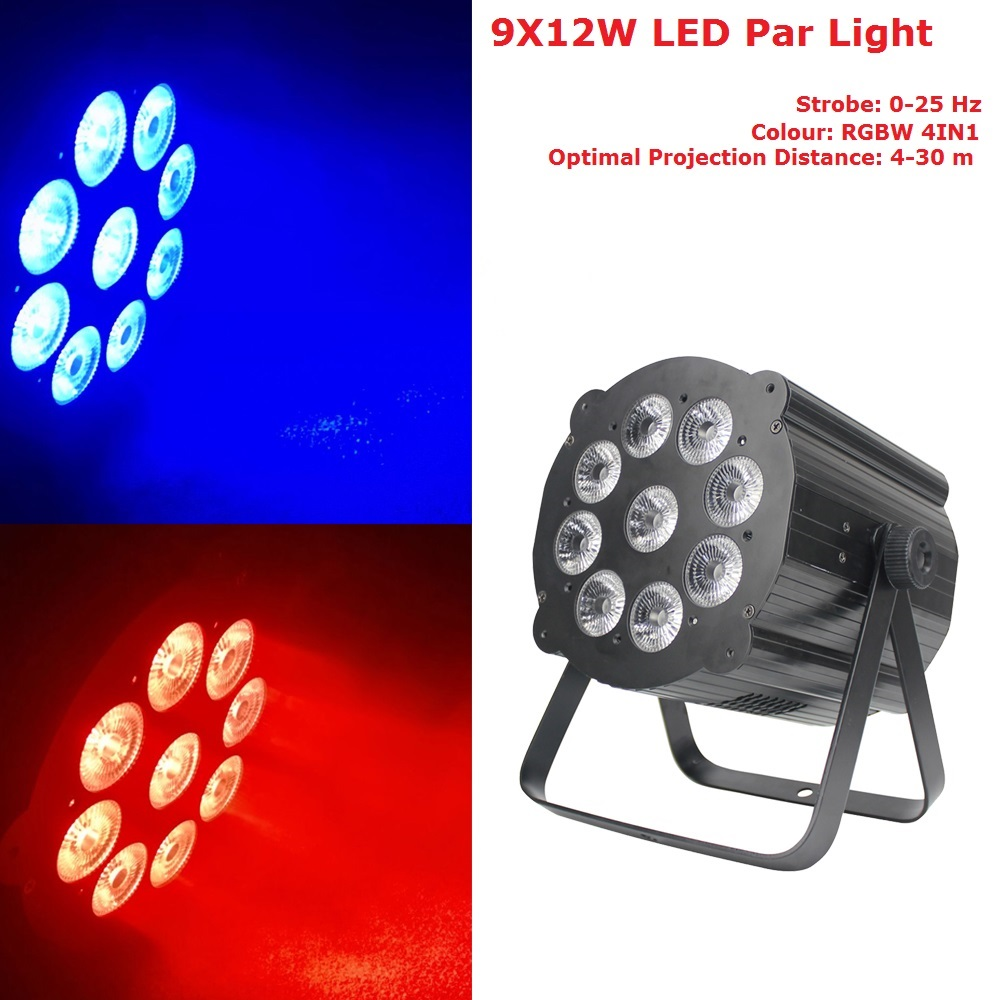 DJ Lighting 9X12W LED Par Lights RGBW Disco Lamp Stage Light Luces Discoteca Laser Beam Luz de Projector Lumiere DMX Controller 10x dj disco par led 9x10w rgbw stage light dmx strobe flat luces discoteca party lights laser luz projector lumiere controller