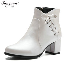 2017 New Arrival Women's Fashion Autumn/Winter Shoes Stylish High Square Heel with Lace-up Bow Decoration Female Ankle Boots