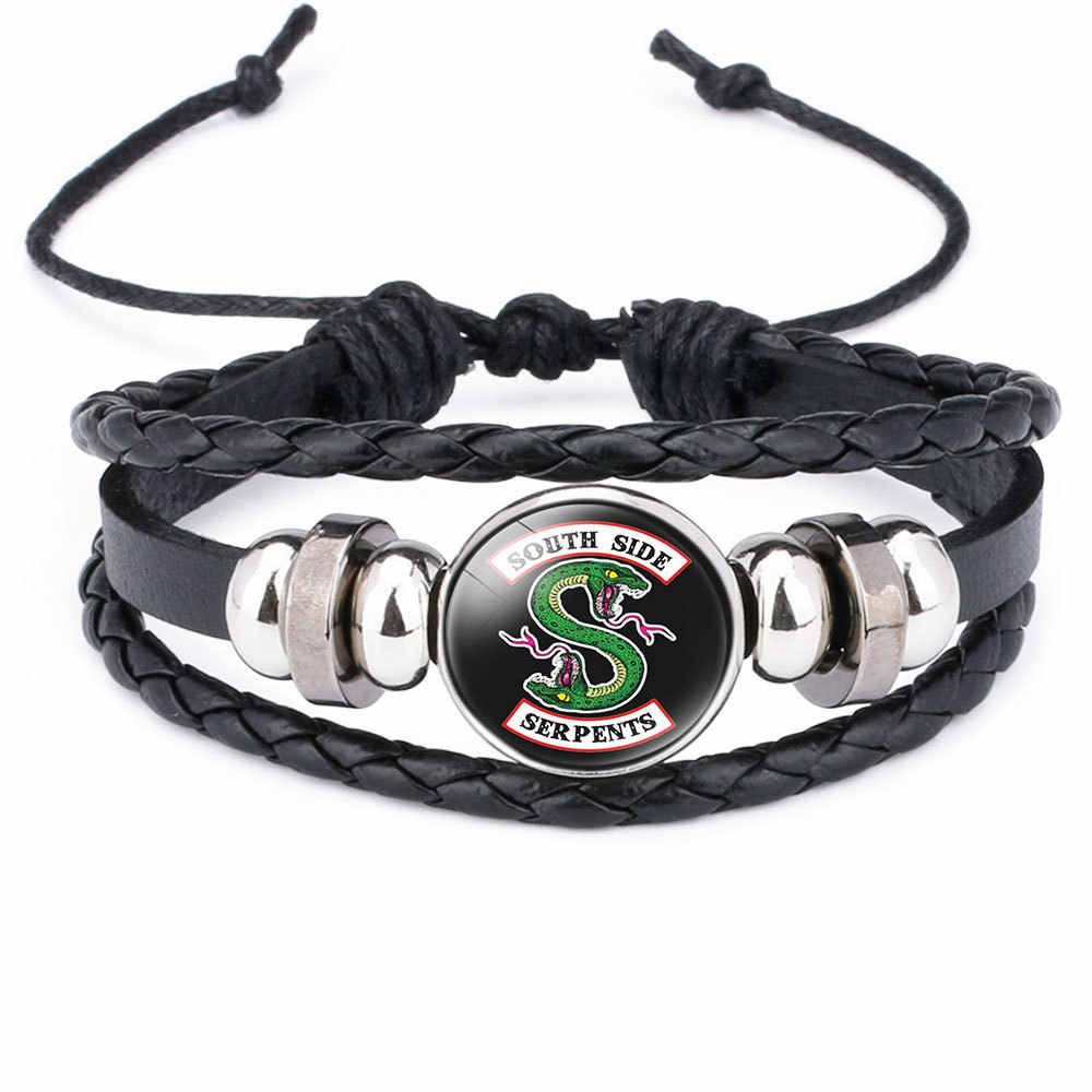 Riverdale Cosplay Prop South Side Serpents Bracelet Jewelry with Genuine Leather Multilayer Pattern Glass Cabochon Badge