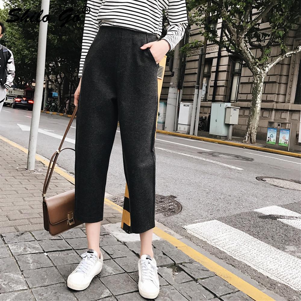 2019 Sarouel ardoisé Mode Taille Noir Haute Longueur Cheville De Streetwear Automne Laine Pantalon Capris Causalité Noir Hiver Femmes tvTwqOfT
