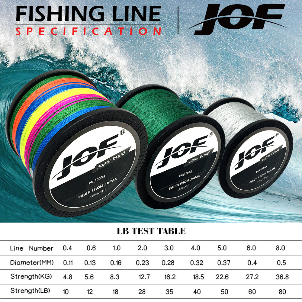 JOF 1000m Fishing Braid Multifilament 4 strands fishing lure PE ...