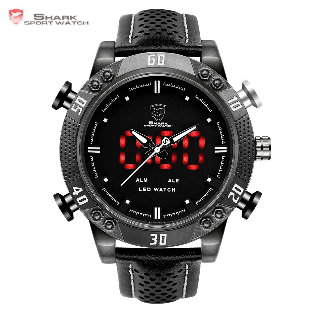 Kitefin Shark Sport Watch Black Auto Date Alarm Leather Band Quartz Digital Watch