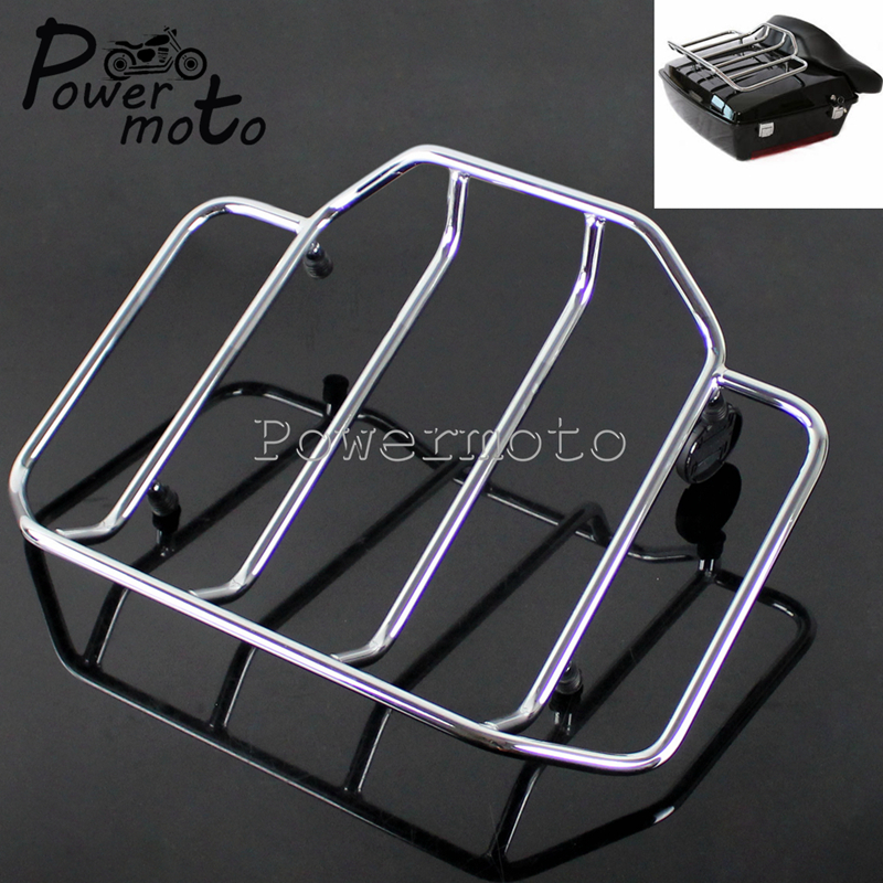 Chrome Motorcycle Detachable Tour Pack Top Tail Luggage Rack Holder For Harley Touring Chopped Road King Razor Tour Pak 53665-87
