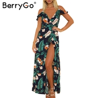 BerryGo Cold Shoulder Strap Ruffles Print Long Dress Women V Neck Split Backless Maxi Dress Sexy