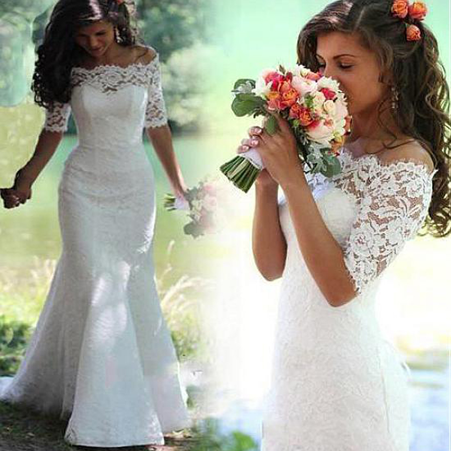 Elegant Lace Off-the-shoulder Neckline Mermaid Wedding Dresses Zipper/Lace Up Half Sleeves Lace Bridal Dress Vestido De Noiva