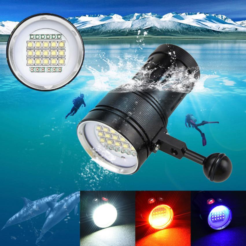 Outdoor 15x XM-L2+6x R+6x B 20000LM LED Bike Light Photography Video Scuba Diving Flashlight Torch 100 Meters Underwater P60