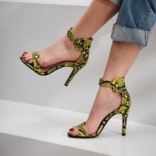 Womens High Heel Shoes Summer Single Strap Sandals Street Snake-grain Pattern
