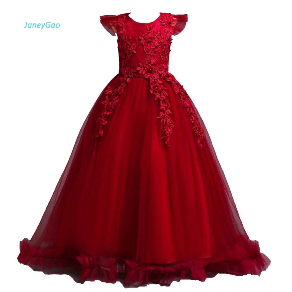 JaneyGao   Flower     Girl     Dresses   For Wedding Party Teenage   Dresses   Formal Gown Tulle With Short Sleeve First Communion   Dresses   2019