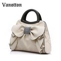 New Brand Women Bag With Large Bow Shoulder Bags Ladies Designer Handbag High Quality Black Pu