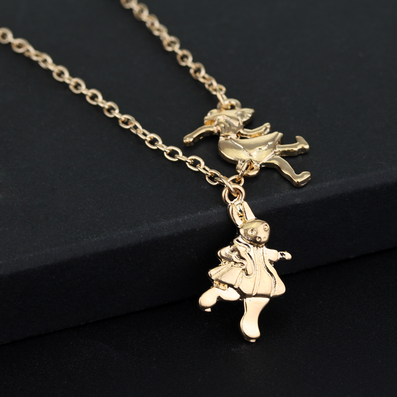 Alice In Wonderland Necklace White Rabbit Gold Pendant Girl Mad ...