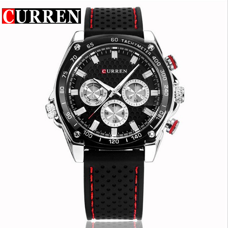 Curren Watches Men Black Silicone Waterproof Clock Military Sport Quartz Watch Mens Luxury Brand Wrist Watches Relogio Masculino splendid brand new boys girls students time clock electronic digital lcd wrist sport watch