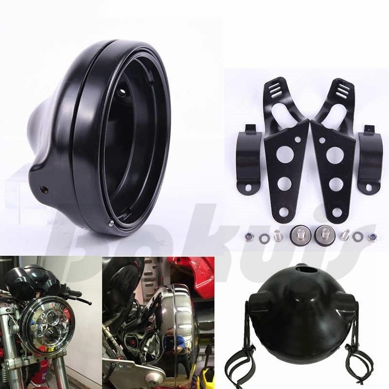 7 INCH LED Motorcycle Headlight Moto Black For Harley Motorcycle LED Headlight Bucket Housing Mount Bracket