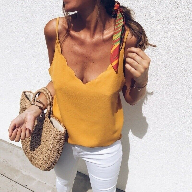 Summer Top Vest Tank Basic-Tee Streetwear Loose Plain Elegant V-Neck Femme Plus-Size