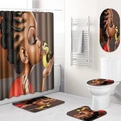 Nuovo 5 Pcs Set Donna Africana Bagno Zerbino Tenda Set Non-Slip Tappetini + Coperchio del Wc Wc Cover + Vasca Da Bagno zerbino + Bagno Tenda Della Doccia