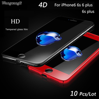 Wangcangli Chinese red 4D full coverage tempered glass For iPhone 6 screen protection For iPhone 6 plus Cold carving glass full