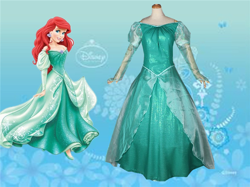 Movie The Little Mermaid Princess Ariel Costume Women Ariel Fancy dress Cosplay Dress princess ariel dress halloween costumes fancy the little mermaid ariel cosplay costume mermaid costume green party dress