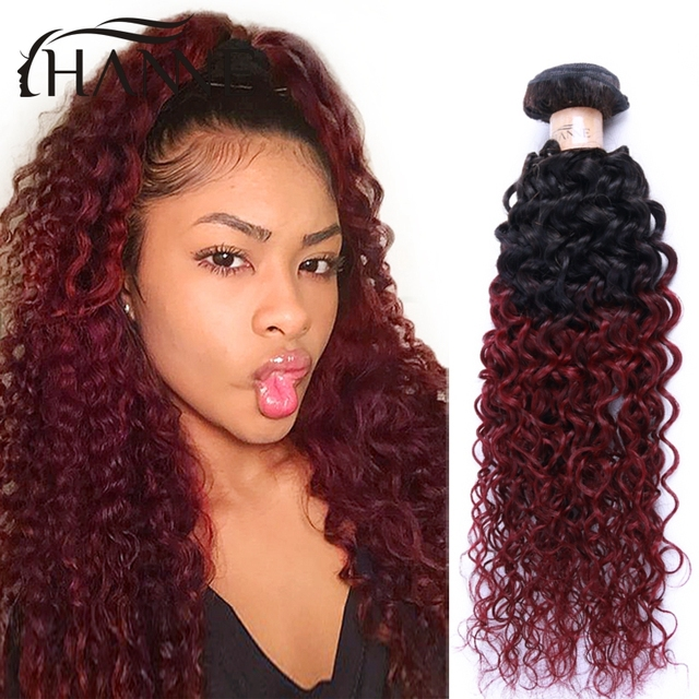 Malaysian Curly Hair 4pcs Burgundy Curly Hair Colored Red Ombre Hair