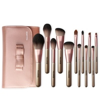 Professional Facial Makeup Brushes Set 12pcs Wooden Handle Make Up Brushes + PU Bag Face Eye Shadow Makeup Brush Tools