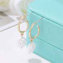 TTLIFE Pearl Drop Earring Geometric Gold Color Metal Dangle 2019 New Wedding Statement Jewelry Women Christmas Gift