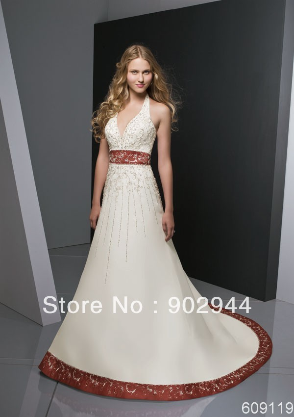 Ball Gown two tone Strapless halter Court Train Beading Satin  Brown pink royal blue and white red Wedding Dress WD609119 521672c3b