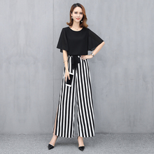Zogaa 2019 New Womens Set 2 Piece T Shirt + Striped Wide-leg Pants Cotton Casual Female s Fashion Sets Comfortable Hot Sale