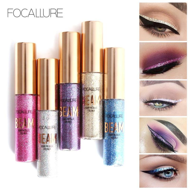 FOCALLURE New Diamond High Glitter Eyeliner Eyeshadow Waterproof Liquid Eyeliner Makeup Beauty Eye Liner Make Up Maquiagem Y10 free shipping 3 pp eyeliner liquid empty pipe pointed thin liquid eyeliner colour makeup tools lfrosted purple