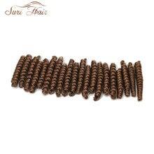 Сури волос крючком низкий Температура Волокна синтетических плетение волос 20 шт./лот 3 дюйма чистый цвет/Ombre коричневый вьющиеся для вязание крючком тесьмы