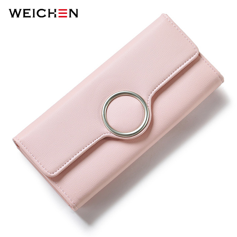 WEICHEN Fashion Geometric Element Hasp Lång Day Clutch Plånböcker Mjuk PU Läder Kvinnor Purse Ladies Card Mynt Telefon Pocket Purses