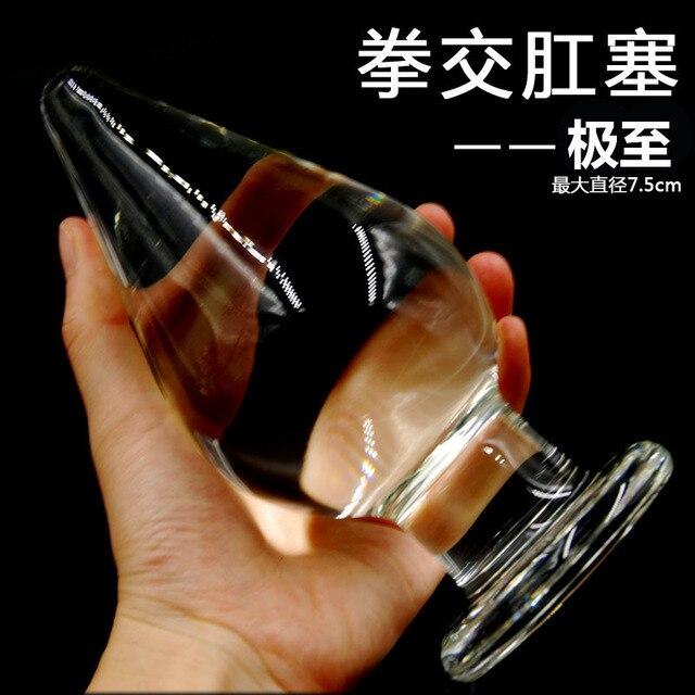 Размер 16 см * 7.5 см супер большой анальный плагин, Большой прозрачный хрусталь анальная пробка анальный фаллоимитатор, Огромный анальный секс игрушки для женщин