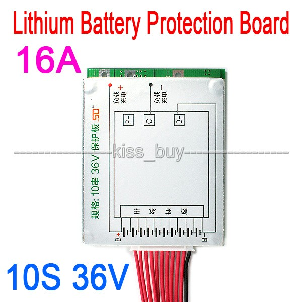 10S 36V Li-ion Lithium Cell 16A 18650 Charger Battery Protection Board With Balance for Electric vehicle Car electrombile