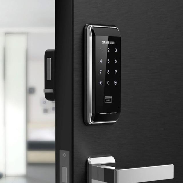 SAMSUNG sistema de seguridad EZON SHS 2920 con huella dactilar, cerradura de puerta Digital sin llave, con 2 etiquetas y 6 tarjetas RFID