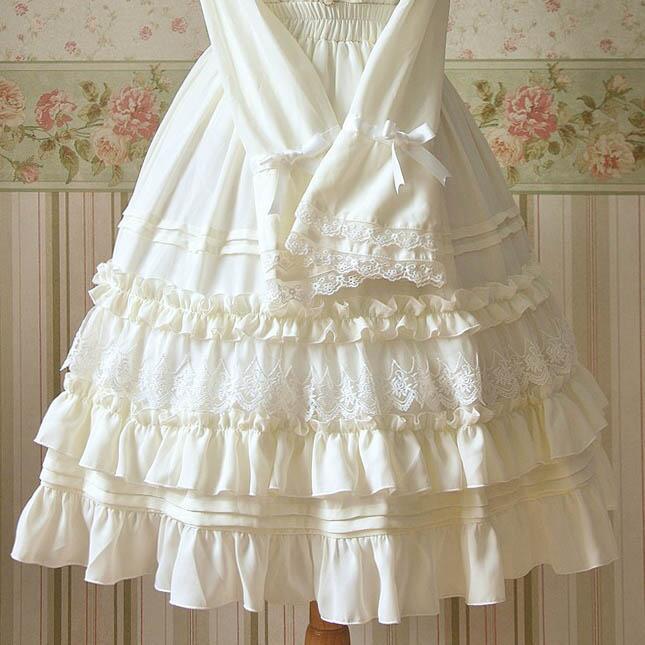 Femei Alb Negru Lolita Fusta Lungime Fuste Chiffon Lace Ruffles Sweet Empire Tiered Fuste Printesa de calitate inalta Talie elastica