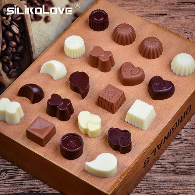 SILIKOLOVE 3D Chocolade Schimmel Siliconen Chocolade Mallen voor Bakken Anti-aanbak Jelly Pudding Sugarcraft Mould DIY Keuken Bakvormen