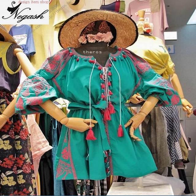4XL תמונה אמיתית הבוהמי מיני בנות vestido בציר בתוספת גודל רופף רקום Hoho פשתן חולצה שרוול פנס שמלת מותג