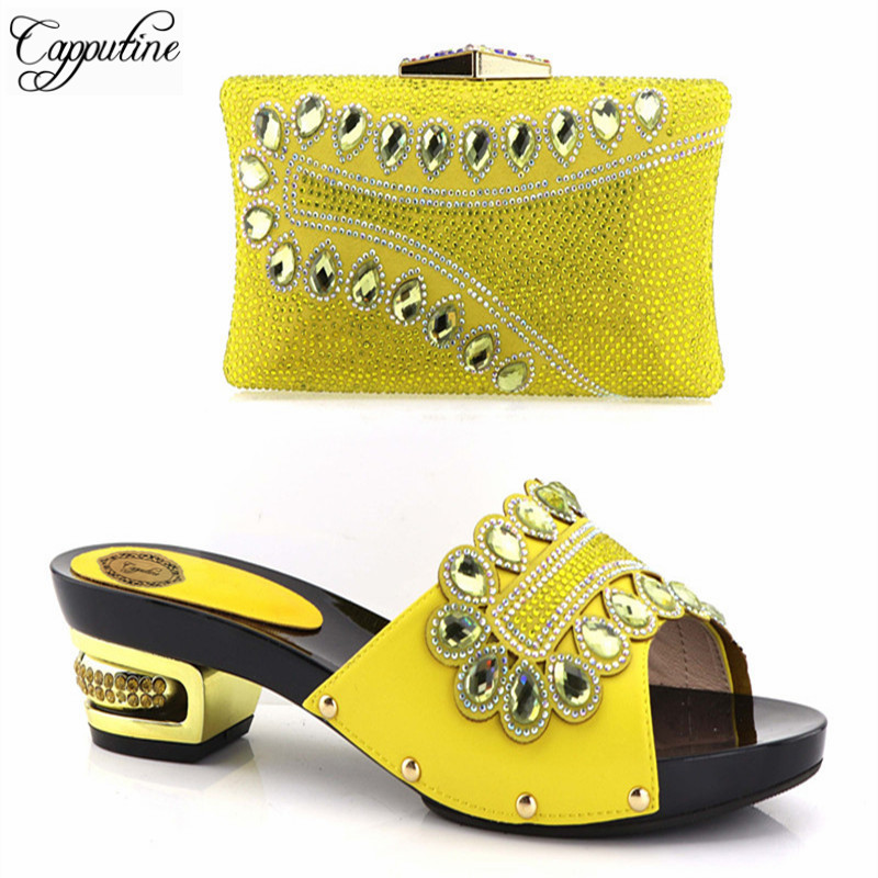 Capputine New Arrival African Rhinestone Party Women Shoe And Bag Set Hot Selling Italian Low Heels Matching Shoes And Bag Set capputine new arrival rhinestone slipper shoes and matching bag set africa style high heels shoes and bag set evening party