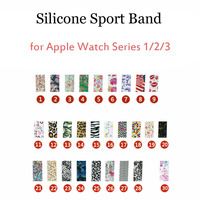 Silicone Sport Band For Apple Watch Series 1 2 3 Strap Floral Flower Butterfly Leopard Watchbands