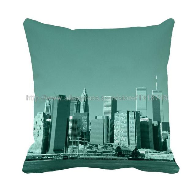 Euro city construction printed dull green cushion cover sofa chair